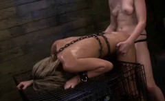 Tied up lesbo gets fucked hard