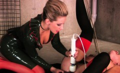 Mistress toys her tied up sub on the floor