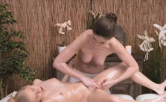 brunette masseuse tribbing blonde beauty