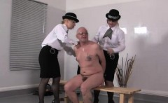 Uniformed femdoms punish tied up subs ass roughly