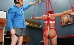 BDSM hardcore action with ropes and extreme coitus