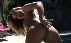 Topless Blonde In Sling Bikini