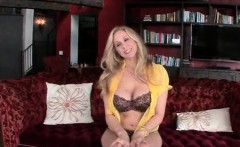 Busty blonde MILF flaunting assets in lingerie