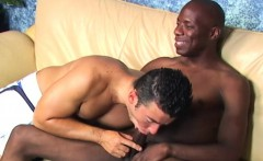 Muscular white guy bouncing on black cock