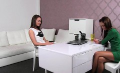 Female agent recording lesbo casting