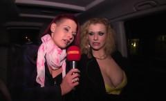 Two sluts sucking of random guys in a car