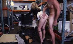 Hot blonde milf sells her stuff and fucked in storage room