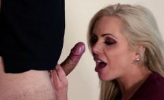 Hot sexy blonde MILF Nina Elle sucks and fucks her step