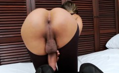 Sweet shemale bombshell jerking off her big dick on the bed