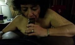 Cock - crazed Granny blowing a big black cock