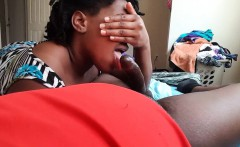 Shy Black wife blowing his horny cock