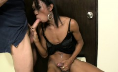 Ladyboy gives a blowjob and inserts big bottle in tight anal