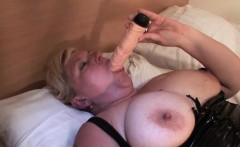 Big tits mature masturbates with huge dildo