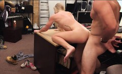 Blonde with small tits gets banged hard by horny pawn guy