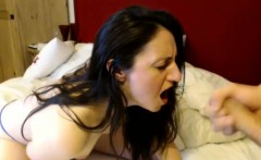 getting a huge facial while rubbing her pussy