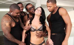 Interracial gangbang treatment for insatiable raven babe