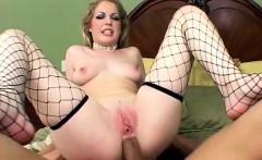Gorgeous blonde slut stands 2 huge cocks