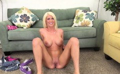 Sensuous blonde Riley Jenner displays her curves and toys her snatch