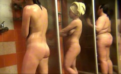 gorgeous amateurs spied in public shower