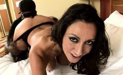 Voluptuous brunette cougar in lingerie goes crazy for a big black dick