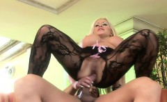 Irresistible blonde in black lingerie indulges in hardcore anal sex