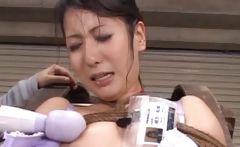 Tits and cunt vibration with asian slave