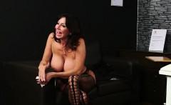 Naughty idol gets jizz shot on her face sucking all the jism