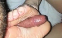 Footjob and cumshot by 32 stunning high milf