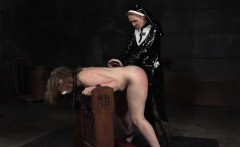 Lesbian nun strapon fucks and whips sub bitch