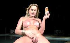 Bigtitted Latina shemale gets her shecock sticky and messy