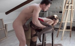 nude male model rams his hard cock into a brunette painters mouth and cunt
