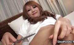 Hot asian babe getting horny shaving her