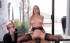 Sexy babe in stockings riding black cock