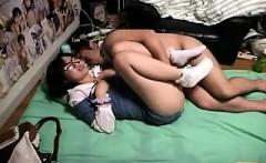 Nerdy Japanese girl invites her boyfriend to please her hun