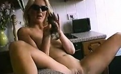 Housewife masturbates with torch that is large