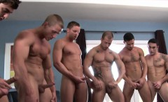 Muscled straight enjoys orgy with gay hunks