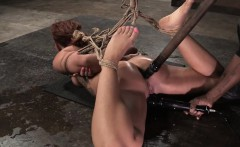 Roped slut punished with analplay and cane
