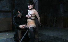 Suspended slave paddled and pussy toyed