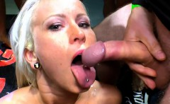 Blonde gets bukkakes and gives oral