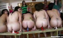 Eight sorority girls riding dildos