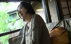 Luscious Japanese wife with big tits has a stud eating out