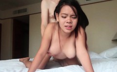 Asian Gets Fucked Doggystyle and Creampied