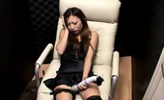 Charming Japanese babe with sexy slim legs pleases her hung