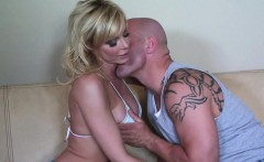 sexy blonde milf sits on fat cock