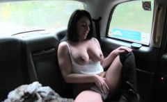 very horny and busty black haired woman gets sprayed