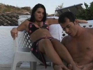 Vivien rubbing huge cock on her sexy feet