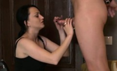 brunette wife gives makes spouse and correct handjobs cum