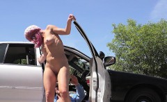 Pink haired stranded teen bangs cop