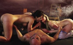 Busty glamour models cockriding in steamy ffm