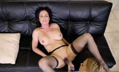 Blonde babe fucks her big tits brunette with toy